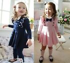 1pc Girls Baby Long Sleeve School Top Dress Kid Cotton Party Autumn Skirt 2T - 6