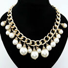 Wholesale Fashion Personality Punk Retro Gold Pearl Statement Necklaces