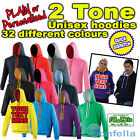 PERSONALISED GIFT - 2 TONE Contrast HOODIE S birthday present 20 30 40 50 th
