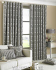 SILVER 90 x 90 THICK HEAVY WEIGHT  EYELET  CHENILLE PERIOD STYLE CURTAINS.