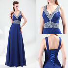 2013 New Stock Sexy V Shin Bridesmaid Evening Party Formal Prom Ball Gown Dress