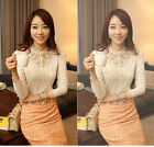 New Women's Vintage Fitted Lace Tops Button Down Shirt Embroidery Blouse--White