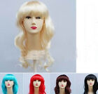 Mix Color Fringe Long Curl Wavy Hair Wig Halloween Costume Fancy Ball PARTY NEW
