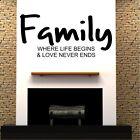 FAMILY wall quotes life beigns never ends decal sticker love large house vinyl