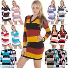 Womens Long Sleeve V-Neck Striped Jumper Knitted Tunic Dress Top Size 8 10 12 14