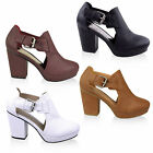 WOMENS LADIES BLOCK HIGH MID HEEL CUT OUT BUCKLE CHELSEA ANKLE BOOTS SHOES SIZE