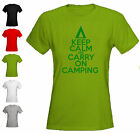KEEP CALM AND CARRY ON CAMPING -  LADIES FITTED T-SHIRT - ALL SIZES + COLS