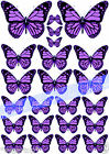 23 Pretty PURPLE Mixed Size BUTTERFLIES Edible Rice Paper Cake Toppers DECORATE