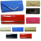 LADIES PATENT CLUTCH BAG EVENING GLOSSY WEDDING PROM CLUB NUDE BLACK RED BLUE