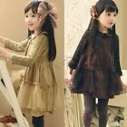 Girls Baby Princess Yarn Long Sleeve Party Pageant Dress Top Tulle Skirt 3T - 7