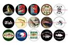 """1"""" ONE INCH PRE CUT FISHING BASS BOTTLE CAP IMAGES CUPCAKE TOPPER SCRAPBOOKING"""