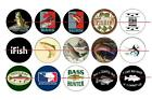 "1"" ONE INCH PRE CUT FISHING BASS BOTTLE CAP IMAGES CUPCAKE TOPPER SCRAPBOOKING"