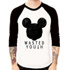 WASTED YOUTH-MOUSE Religion cross men Baseball Jersey t-shirt 3/4 sleeve Raglan