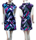 70's Style Shift Dress Long Top Purple Blue Pink Grey Black Size 8 10 12 14 New