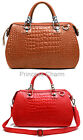 Red Brown Leather Bag Tote Shoulder Handbag Crocodile Skin Celebrity Style New