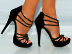 BLACK SPARKLY STRAPPY DIAMANTES PEEP TOES PLATFORMS SANDALS PARTY HIGH HEELS 3-8
