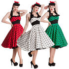 Hell Bunny Mariam Dress Polka Dot 50s Pin Up Prom Wedding Dress Black Red Blue