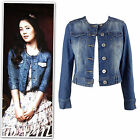 New collarless mid-blue washed croped denim jacket