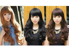 Fluffy Womens Girls Long Wavy Curly with Fringe Hair Full Wigs Fashion 4 Colors