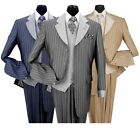 Men's Luxurious Wool Feel High Fashion Stripes Four Button Suit w/ Vest #2911