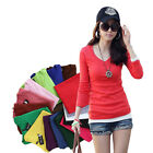 New Fashion Long Sleeve Basic Style Layering TEE T Shirt V-Neck Stretch WTL090