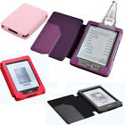 Amazon Kindle 4 4th Pu Leather Wallet Case Cover +Slim Reading Light Red Purple