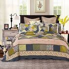 Spring Shower Cotton Green Floral Patchwork Reversible Bedding Quilt Bedspread image