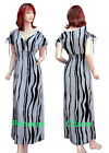 Summer Maxi Dress Long Black White Print Cotton Short Sleeve V Neck Size 8