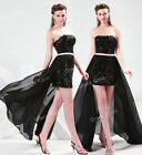 Sexy Black Chiffon Ball Gowns Bridesmaid Wedding Evening Party Prom Formal Dress