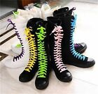 Gothic PUNK Women Rock Boot Girls Shoes Sneaker Knee High Zip Laces Up