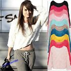 Lady's New Hot Sale 3D Mesh Lace Rose Floral Long Sleeve Jumper Top Sweater