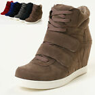 Women's Hightop Wedge Sneakers Women High Top Hidden Heeled Trainers Shoes M504