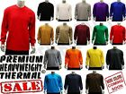 MEN'S PLAIN THERMAL LONG SLEEVE WAFFLE SHIRTS HEAVY WEIGHT COLORS SIZE S-6XL