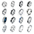 New Men's Titanium Silver Wedding Rings Engagement Band Jewelry Free Gift boxes