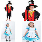 Childrens Girls Boys Alice In Wonderland Fancy Dress Mad Hatter Outfit Costumes