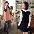 Fashion Women Girl New Lovely Vintage Doll Collar Long Sleeve Dress With Bow Tie