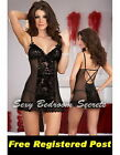 Sexy Black Lace & Sheer Mesh Babydoll Sizes O/S, XL, 2XL, 3XL
