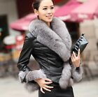 100% Real Genuine Sheep Leather Coat Jacket Fox Fur Collar Women Vintage Winter