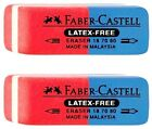 FABER-CASTELL RED/BLUE ERASER FOR PENCIL & PEN SET OF TWO PCS IN A BLISTER CARD