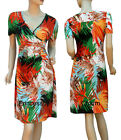 Tropical Print Summer Pencil Dress Coral Green Black Sleeve Size 10 12 14 16 18