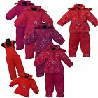 New Girls Belted Jacket &Dungaree 2 Pieces Set, Hooded Snow Suit Baby Girl 1-5ys