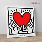 """Keith Haring """"Figures with Heart"""" Stampa HR su tela Canvas Quadro Moderno Cuore"""