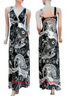 Black White Summer Maxi Dress Long w Paisley & Flower Print Size 8 10 Stretch