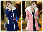 new winter Women double-breasted wool coat long woolen coat fur collar R07