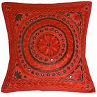 """Embroidered Cushion Covers RED Indian Jaipur Mirror Work Cotton 16"""" 40cm Ethnic"""