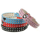 Bling Rhinestone Crystal Collar Puppy Dog Cat Pet PU Leather Adjustable S/M
