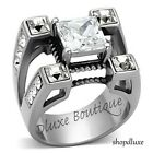MEN\'S PRINCESS CUT SIMULATED DIAMOND SILVER STAINLESS STEEL RING SIZE 8-14