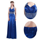 Formal Long Halter Silk-Like Ball Gown Bridesmaid Evening Prom Party Dresses