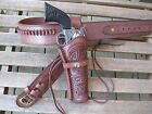 Cartridge Gun Belt Combo - .22 Cal Tooled Holster- Leather- Brown - Specify Size