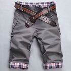 Fashion Mans Slim Shorts Summer Casual Short Pants Plaid Trousers  Q159